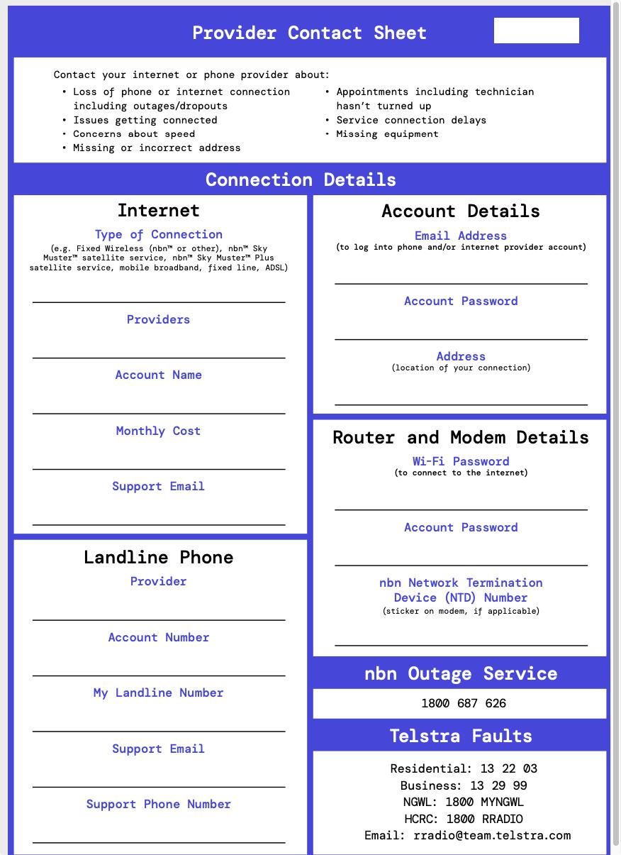 Regional Tech Hub provider contact sheet